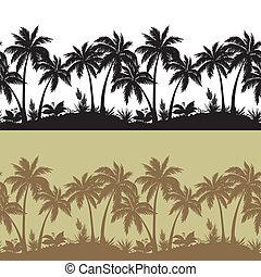 silhouette, fiori, set, seamless, palme