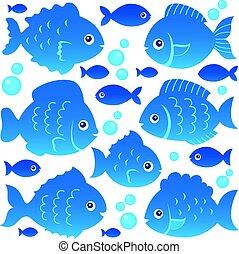 silhouette, fish, 2, set, tema