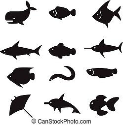 silhouette Fish icon set