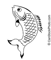 silhouette fish on white background