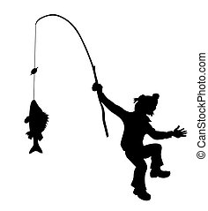 silhouette fisherman on white background