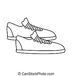 silhouette fitness sneakers design icon