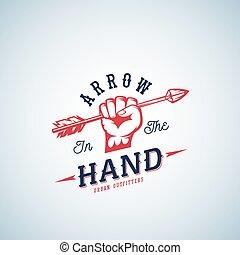 silhouette, flèche, résumé, main, typography., vecteur, retro, poing, template., logo, symbole, rouges