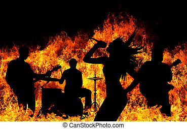 silhouette, flammes, sur, ardent, bande, rocher