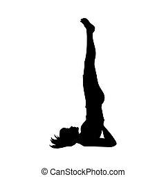 silhouette, flexibility., atteggiarsi, yoga, ragazza, esercizio