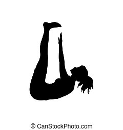 silhouette, flexibility., pose, yoga, girl, exercice