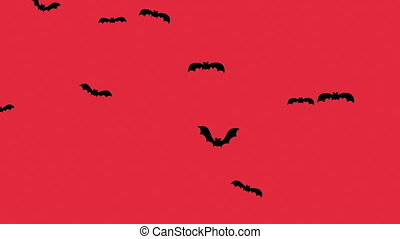 Silhouette flock of bats on a red background