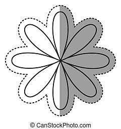 silhouette flower with oval petals icon