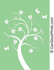 Silhouette flowering tree and butterflies