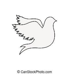 silhouette fly bird icon flat