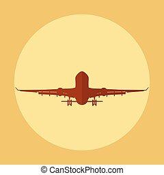 Silhouette Flying air plane vector illustration