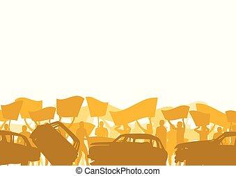 silhouette, folla, persone, automobile, rotto, protesta, vettore, fondo, dimostrare, paesaggio