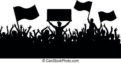 silhouette, folla, persone, fans., sport, fondo., bandiere