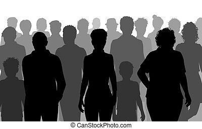 silhouette, folla, persone