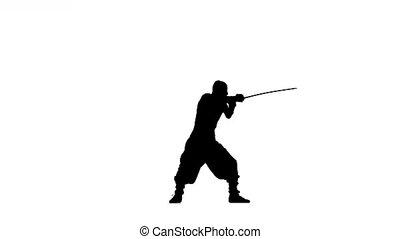 silhouette, fond, épée, slhouette, ninja, blanc, stylei., homme
