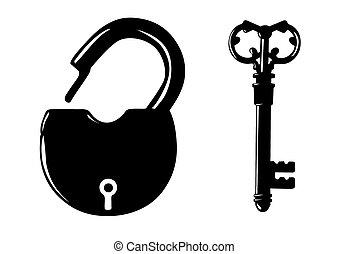 silhouette, fond, cadenas, blanc