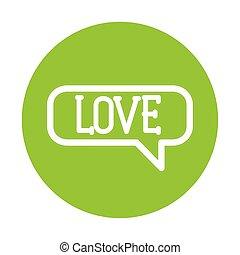 silhouette, fond, coeur, bulle discours, vert