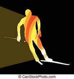 silhouette, fond, homme, ski, coloré, illustration, concept