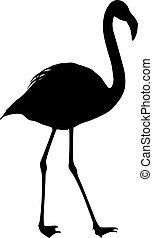 silhouette, fond, oiseau, flamant rose, blanc