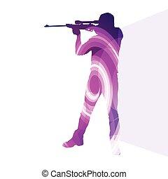 silhouette, fond, tir, homme, chasse, coloré, sport, illustration, concept