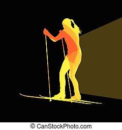silhouette, fondo, sci, donna, colorito, illustrazione, concetto