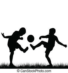 silhouette, football, bambini giocando