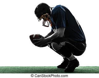silhouette, football, battu, joueur, américain, homme
