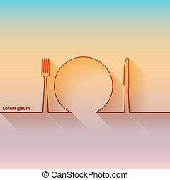 silhouette, forchetta, cucchiaio, scheda, coltello, pubblicità