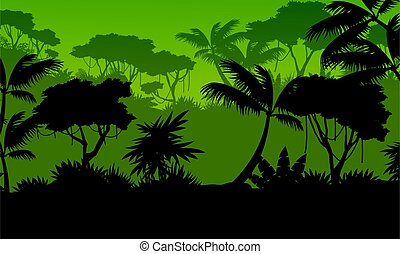 Silhouette forest with green background