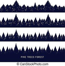 silhouette, foresta, fondo