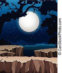 silhouette, foresta, fondo, notte
