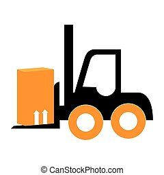 silhouette forklift truck with boxes