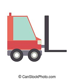 silhouette forklift truck with forks