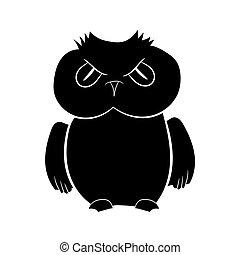 silhouette, formulaire, owl., illustration, main, vecteur, noir, graphics., dessin