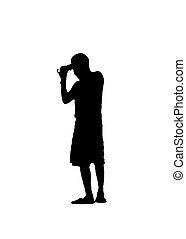 silhouette, foto, nehmen, junger, abbildung, zurück, mann, ansicht