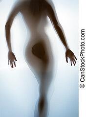 silhouette, foto, van, sexy, vrouwlijk, bodem, en, back