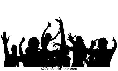 silhouette, foule, danse