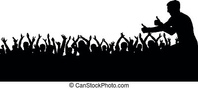 silhouette, foule, gens, applaudir, silhouette., applaudissement