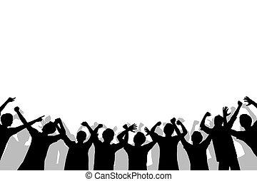 silhouette, foule, gens