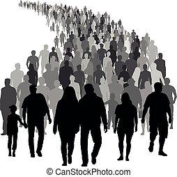 silhouette, foule, gens, grand, vecteur, moving.