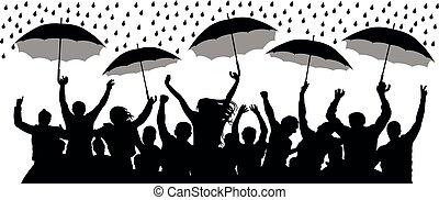 silhouette, foule, gens, isolé, gai, vecteur, rain., parapluies