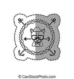 silhouette, francobollo, adesivo, cane, animale, rauco, accesories