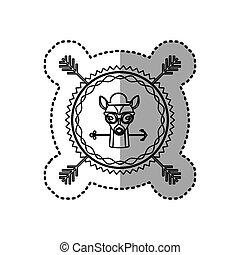 silhouette, francobollo, adesivo, cervo, animale, accesories