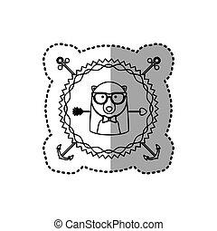 silhouette, francobollo, adesivo, orso, animale, accesories