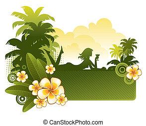 silhouette, &, frangipanier, -, illustration, exotique, vecteur, girl, fleurs, paysage