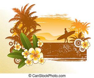 silhouette, frangipanier, -, illustration, surfeur, vecteur, fleurs