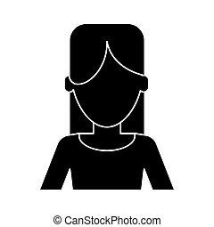 silhouette, frau, beiläufige kleidung