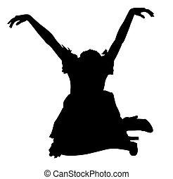 silhouette, frau kleid, sitzen, in, marionette, haltung