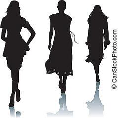 silhouette, frau, mode