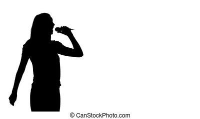 silhouette, frau, singende, animation